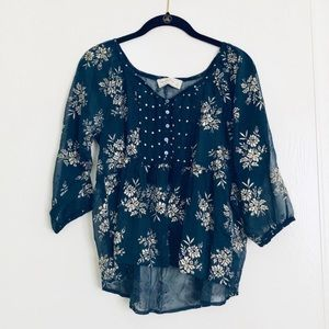 Abercrombie & Fitch Sheer Navy Floral Peasant Top